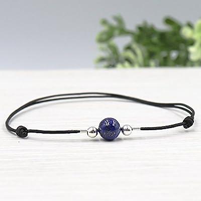 Bracelet cordon femme pierre ronde lapis lazuli