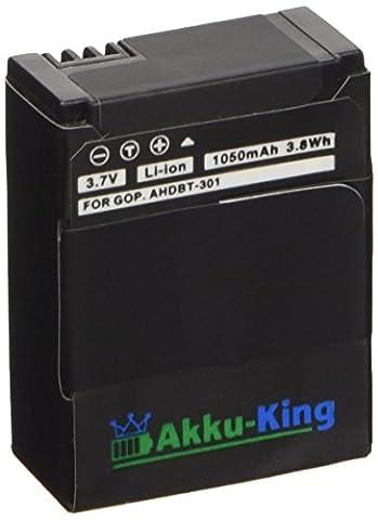 Akku-King Akku kompatibel zu GoPro HERO3, HERO 3 HD, HERO 3+, Black White Silver Edition - ersetzt AHDBT-301, AHDBT-302, AHDBT-201, CHDHN-301 - Li-Ion