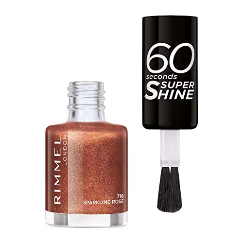 Rimmel Nagellack 60 Sekunden Super Shine Colour Block 716 Sparkling Rose 8 ml - Ultra Shine Top Coat