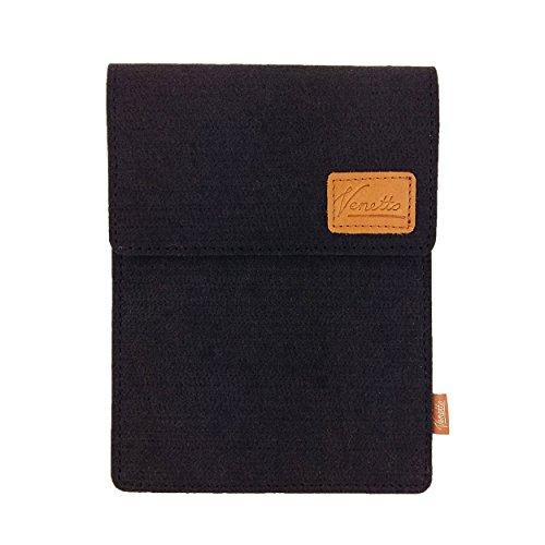 Venetto Tasche für eBook-Reader Hülle aus Filz Sleeve Schutzhülle für Kindle Kobo Tolino Sony Trekstor Schwarz