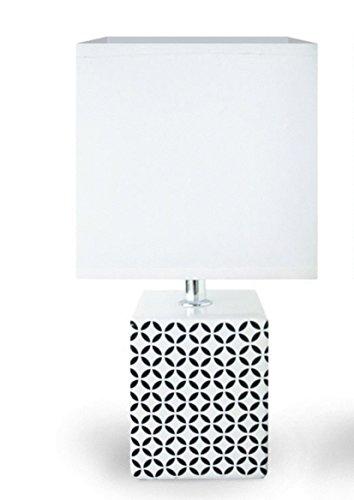 Lampe à poser Noire et Blanche Cubique/Moderne / Design'Pied Graphique' en céramique