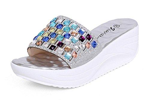 ZPL Signore delle donne slip-on tacco a zeppa diamante dimensioni sandalo , gold ,