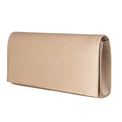 fashion-formel Abendtasche Clutch in Taupe Satin -