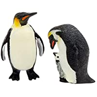 Toyvian 2Pcs Penguin Figurines Model Plastic Ocean Animal Collection Wildlife Playset