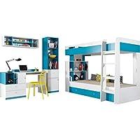 """Etagenbett/Hochbett Zusammensetzung """"MOBI System 19"""" Kinder Möbel-Set. Etagenbett mit Schubladen (Matratze nicht im Lieferumfang enthalten), Schreibtisch, Bücherregal und Wandregal. 2 Farbe vorhanden. (Weiß/Blau). - preisvergleich"""