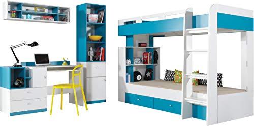 """Etagenbett/Hochbett, Zusammensetzung """"MOBI System 19"""" mit Schubladen und Schreibtisch. Kinder Möbel-Set. (Weiß/Blau)."""