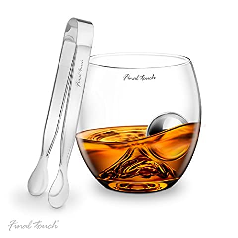 Final Touch Stainless Steel Edition On The Rocks Drinking Glass Set -Includes Whiskey Glass, Stainless Steel Ball & Tongs - Gift