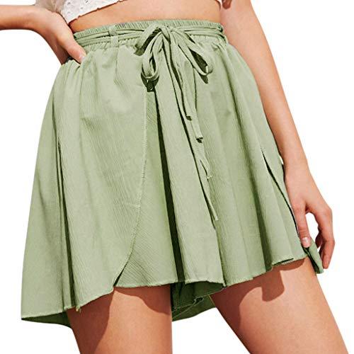 Lonshell Damen Chiffon Shorts Gestreifte Kurz Hose Beach Sommerhosen mit Elastischem Taillenband High Waist Sporthosen Hotpants Strandshorts - Frauen Boxing Shorts