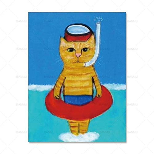 FENGJIAREN High Definition Printing Posters and Prints Art Cartoon Animal Diving Cat Decoration Canvas Painting for Living Room Home Decor No Frame,70Cm×100Cm