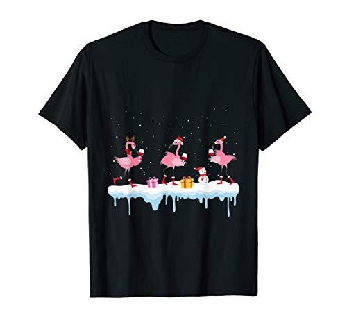 Flamingo wine christmas santa hat  T-Shirt -