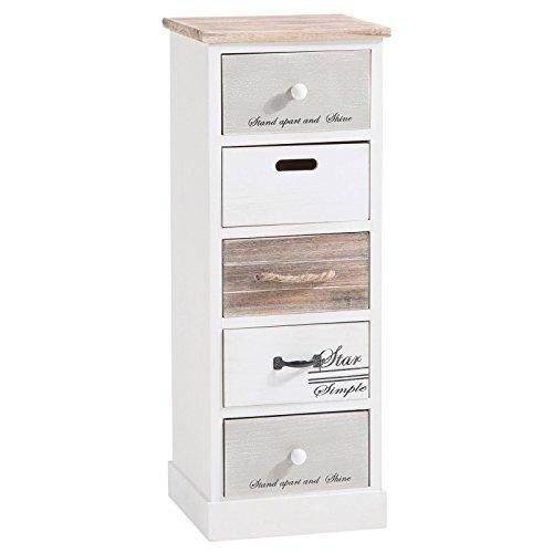 IDIMEX Chiffonnier Salva Commode 5 tiroirs en Bois de Paulownia Style Shabby Chic Vintage Rustique Blanc