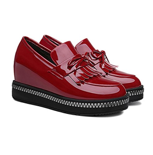 XTIAN , chaussures compensées femme Wine Red Weinrot