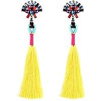 VANKER Borla flecos pendientes, Las mujeres de moda retro de colores brillantes borla larga franja pendiente pendientes pendientes color amarillo