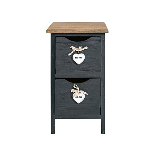 Rebecca mobili comodino grigio con cuori, mobiletto 2 cassetti, legno paulownia, shabby chic, camera bagno - misure: 45 x 26 x 32 cm (hxlxp) - art. re4558
