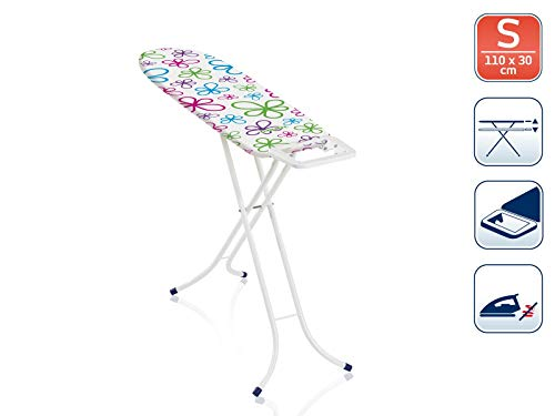 Leifheit Bügeltisch Classic S Basic, für kleine Haushalte, Bügelbrett mit fester Bügeleisenablage, höhenverstellbares Bügelbrett klein zusammenklappbar