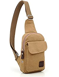 Kalevel Outdoor Sports Bag Casual Canvas Backpack Crossbody Sling Bag Single Shoulder Bag Messenger Bag For Men...