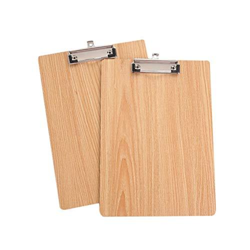 STOBOK 5 Stück Kunststoff Klemmbretter mit Metallclip,Schreibbrett A4 Clipboard Zwischenablage Holzschicht Oberfläche