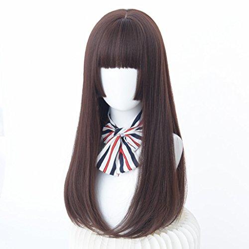 Chang Xiang Ya Shop Mode Douce Perruques aux Cheveux Longs Perruques Longues Droites réalistes réalistes Perruques Brun foncé Femelle