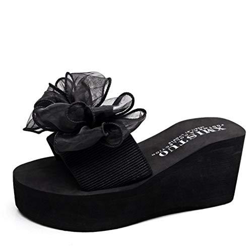Frauen Wedges Sandaletten Floral rutschfeste Open Toe Leichte Damen Platform Slides Sandale Floral Open Toe