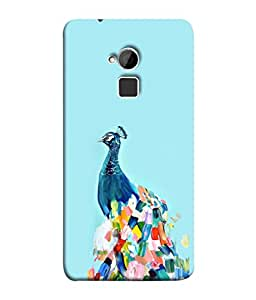 PrintVisa Designer Back Case Cover for HTC One Max :: HTC One Max Dual SIM (Colourful Peacock Art Oil Painting Decorative Bird)
