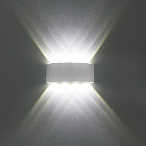 Lampada da parete, moderno 8 w led led lampada da parete led applique interni decorativa per soggiorno, camera da letto, corridoio, scale, percorso (bianco freddo,guscio bianco)