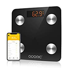 Adoric Bluetooth Body Fat Scales, 2020 Upgraded High Precision Bluetooth Scale with APP for Android and iOS, Auto On/Off, Digital Weight Scales Bathroom Body Fat Weighing (Black)