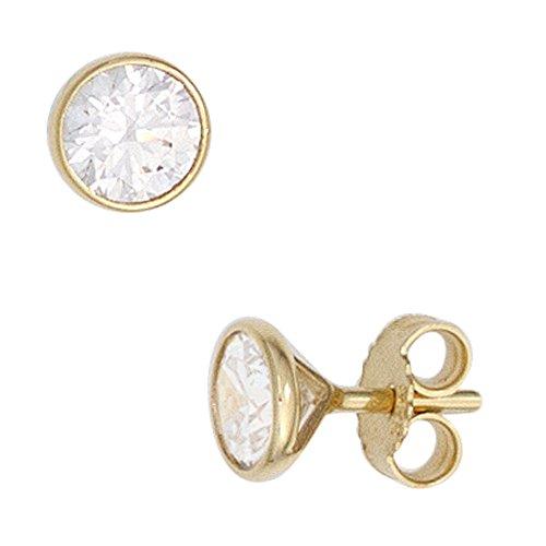 Ohrringe Ohrstecker Gold 333 Damen Herren Männer Echt 8k Gelbgold mit 5mm Zirkonia Stecker Gold-Ohrringe - Gold Earrings