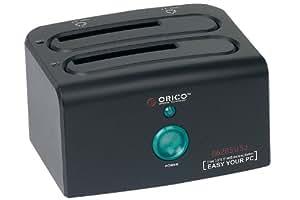 """ORICO 8628SUSJ double station d'accueil pour baie 2,5 """"et 3,5"""" disques durs SATA avec port eSATA et USB 2.0 ports et câble de données noir"""