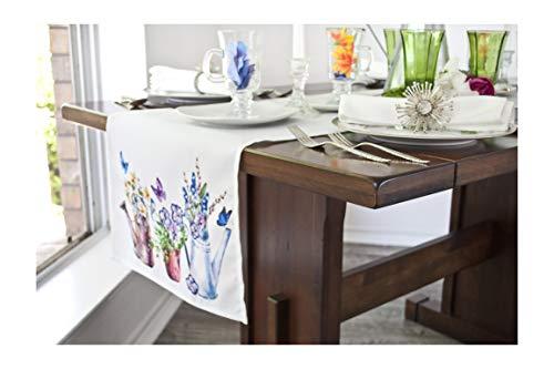 Linens, Art and Things Gießkanne, Blumen und Schmetterlinge, mit Netz-Spitzenband, Stickerei, Bauernhaus-Tischläufer, 40,6 x 177,8 cm
