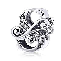 YANGTE Letter Alphabet A to Z Beads Charms Fit Charm Bracelets - 925 Sterling Silver Women