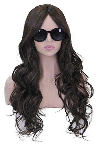 (Lang Gewellt Perücken für Frauen Full Head Hair Schokolade dunkelbraun cosplay Lolita Party Perücke oder Daily Life + Perücke Cap und Kamm sxl1485 (Dark Brown))