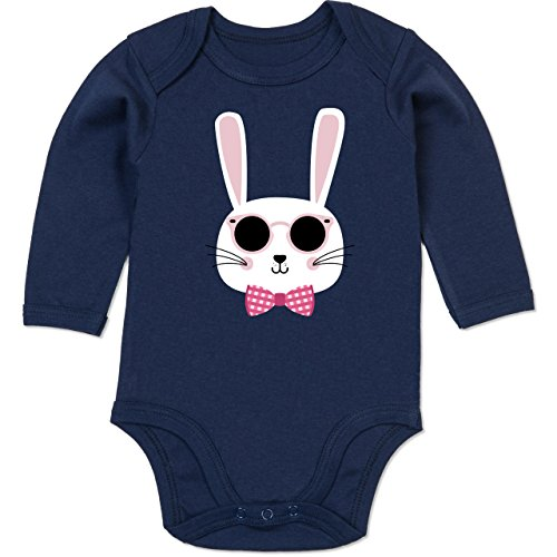 Shirtracer Tiermotive Baby - Osterhase Sonnenbrille Rosa - 3-6 Monate - Navy Blau - BZ30 - Baby Body Langarm