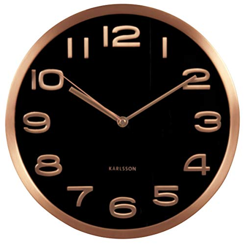 Present Time Karlsson – Horloge Murale – Maxie Cooper – Cuivre – Noir 30 cm