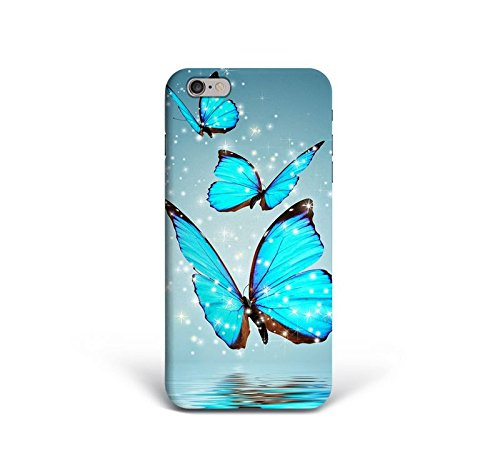 For iPhone 6 plus + iPhone 6s plus + Phone Back Case Hard Cover Custom Personalised Trendy Style Christmas Gift Present Modern Design Protective Plastic UK Brand Appfix Blue neon Butterfly Hipster