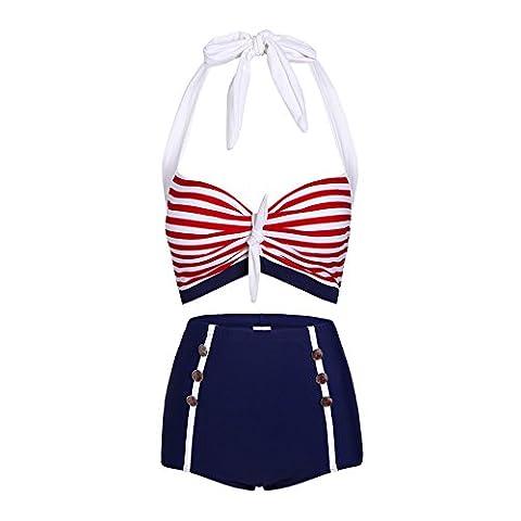 Maillot de bain bikini de style Vintage froncé à taille