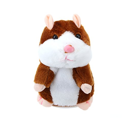 TOYMYTOY Talking Hamster Plush Toy Repeats What You Say Mimicry Pet Toy Electronic Record Toy for Kids Early Learning Gift (Light Brown)
