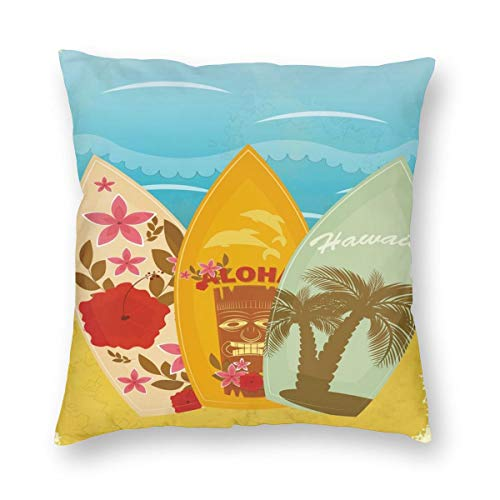 Bamboo Beach Tiki Bar (Tiki Bar Queen Size Throw Pillow Cushion Cover,Hawaiian Beach Surfboards On Sand Exotic Summer Vacation Sport Vintage Style,Decorative Square Accent Pillow Case 22
