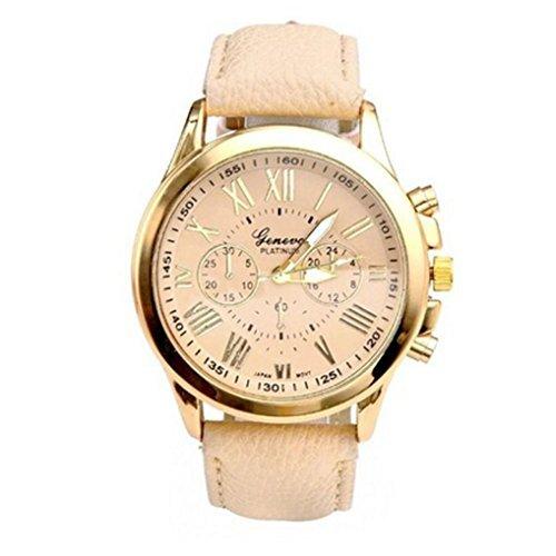 Franterd® Uhren, Unisex Damen Männer Frauen Armbanduhr elegant Uhr Zeitloses Design Classic Leather römischen Ziffern Leder analoge Quarz-Armbanduhr