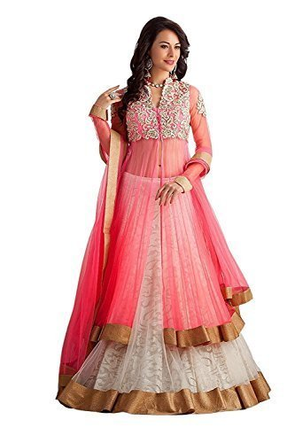 Attire Design Womens & Girls Net Pink Party Wear Long Gown (GOL-Pink_White_Long Gown_Semi-Stitched)