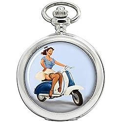 Patinete de pin-up Girl Full Hunter reloj de bolsillo