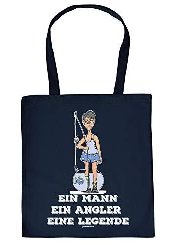 Tasche mit Motiv fr Angler: EIN Mann, EIN Angler, eine Legende - Geschenkidee fr alle Hobbyangler - Fischen - Navyblau