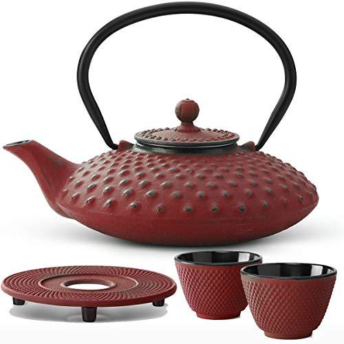 Bredemeijer Teekanne asiatisch Gusseisen Set rot 0,8 Liter mit Tee-Filter-Sieb mit Stövchen und Teebecher (2 Tassen) rot - Serie Xilin
