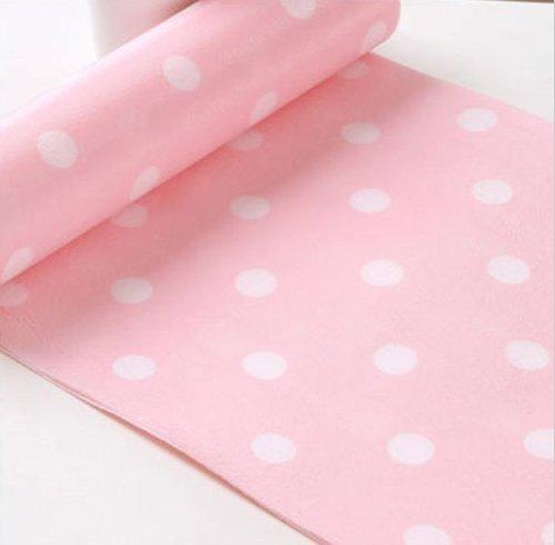 Mantel de papel desechable Nalmatoionme de lunares blancos con fondo rosa, de 30 x 300 cm, para decorar cocinas, estantes, armarios y cajones