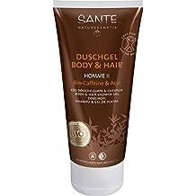 SANTE Naturkosmetik Homme II Duschgel Body & Hair 2in1 Bio-Caffeine & Açai für Männer, Anregend & Vitalisierend, Vegan, 2x200ml Doppelpack