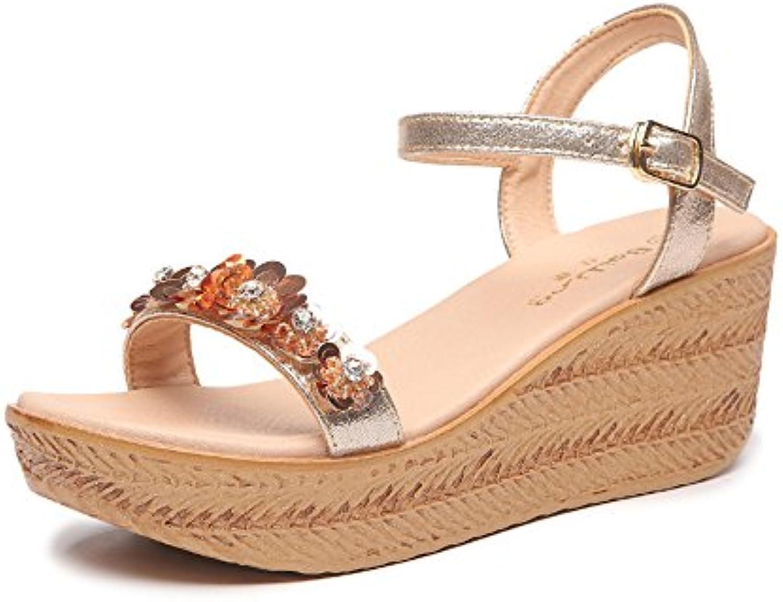 Sandalias Feifei Zapatos de Mujer Material de Tela Verano Grueso Inferior Flores Oro Plata Opcional (con Alto:...