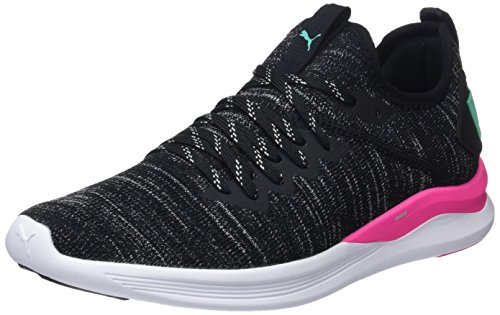 Puma IGNITE Flash evoKNIT Wn's, Damen Laufschuhe, Schwarz (Puma Black-Knockout Pink-Biscay Green), 38 EU ( UK)