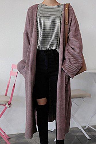 Les Femmes Les Épaule Rideaux Split Cardigan Knit Extérieur De La Tenue De Lhiver purple