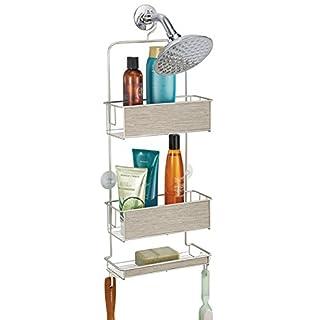 mDesign Hängeregal für die Dusche - Duschregal ohne Bohren - einfach einhängen - Duschkorb mit Ablagen und Haken für Shampoo, Conditioner, Seife etc. - satiniert/graues Holz