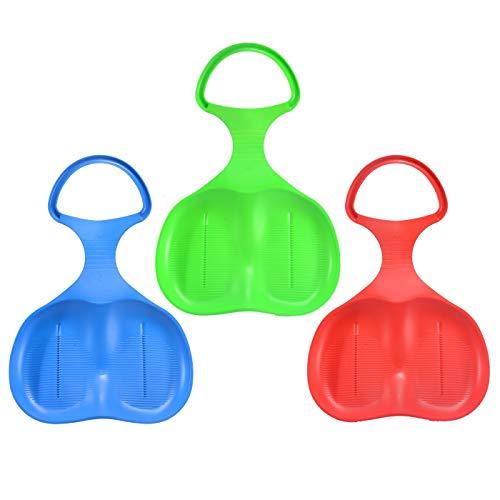 U&X schneerutscher Kinder Schneeflitzer mit Griff 3 Stück Rot Blau Grün (Aufblasbarer Schlitten Für Kinder)