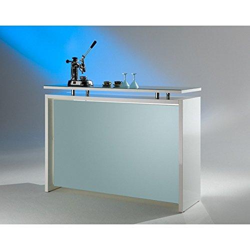 MS Schuon - Klenk Collection: Starlight Theke, Hochglanz in Silber-Weiß mit Glasplatte